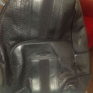 Black leather Coach backpack